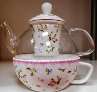 снимка на Чаша за чай с огнеупорна каничка
