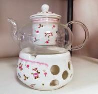 снимка на Огнеупорно чайниче с подгряваща поставка