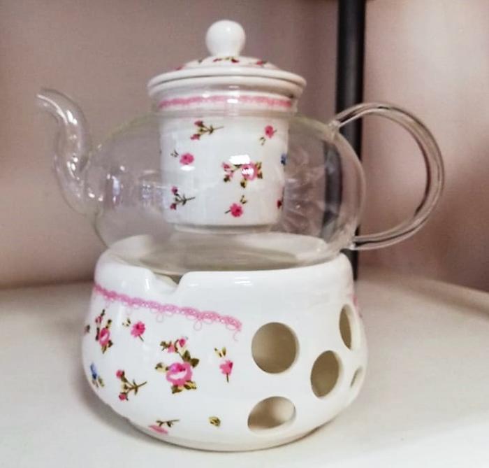 Огнеупорно чайниче с подгряваща поставка
