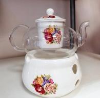 снимка на Комплект огнеупорно чайниче с поставка