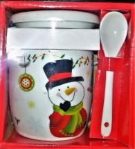 снимка на Чаша с капак и лъжичка Снежен човек