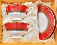 снимка на Червен комплект за чай и кафе