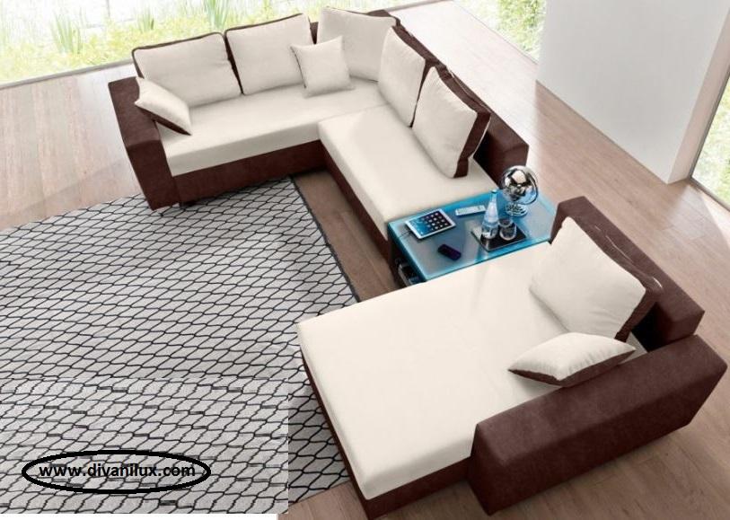Ъглов диван с миеща се дамаска по поръчка 551