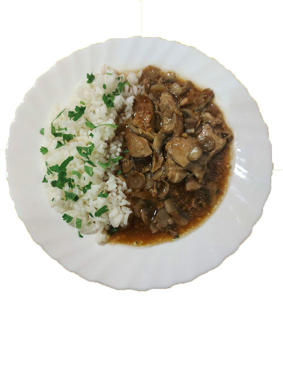 снимка на Св. късчета с гъбен сос и гран. задушен ориз гр.