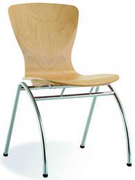 Посетителски стол BINGO wood chrome