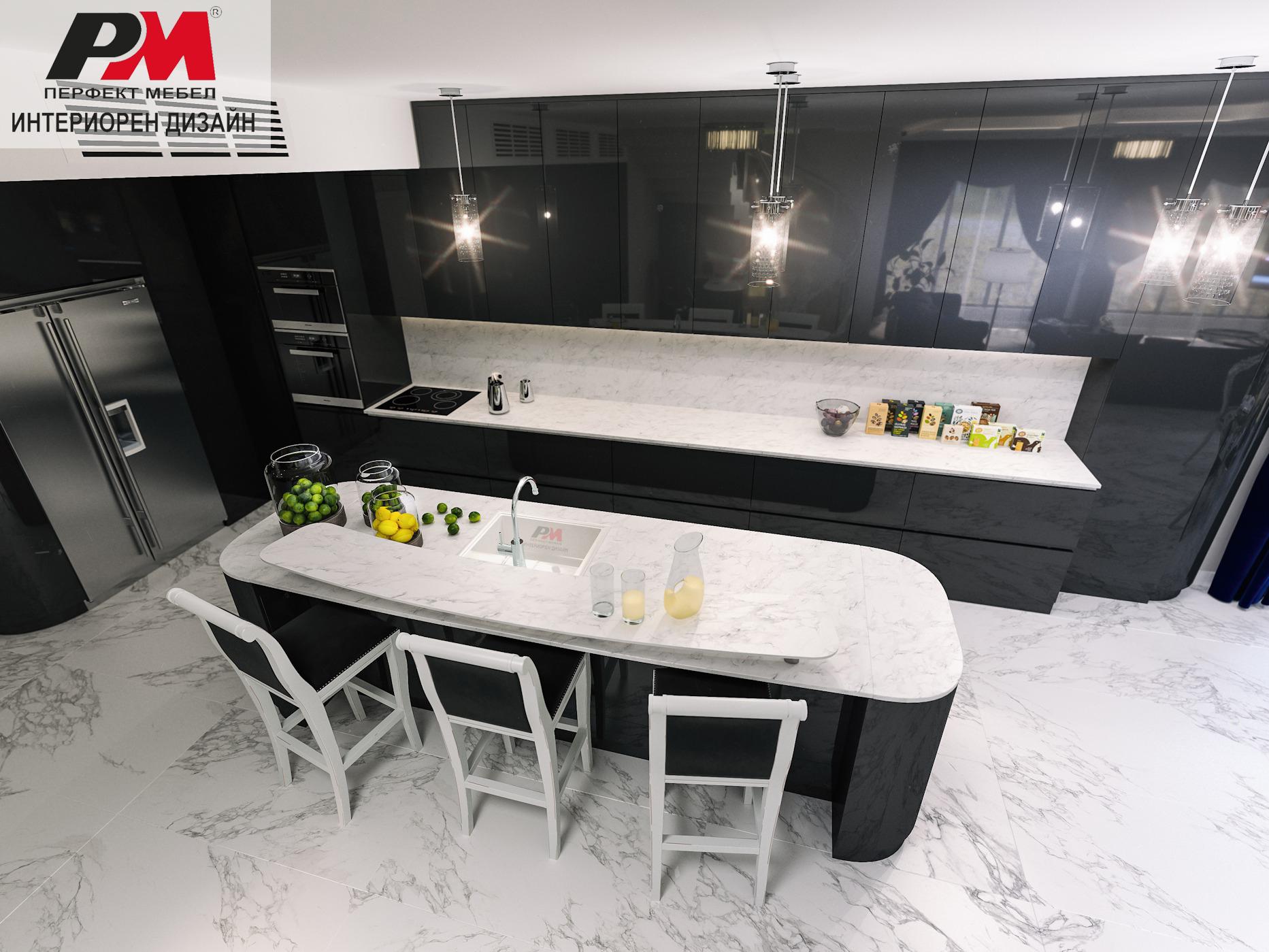 снимка на Стилна и луксозна кухня с индивидуален модерен дизайн