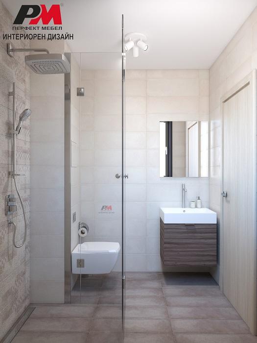 Дизайн проект на малка съвременна баня в свежи пастелни тонове