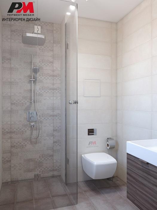 Стилен интериор на малка функционална баня в семпли тонове