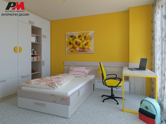 Очарователен интериорен проект на детска стая е искрящо жълто
