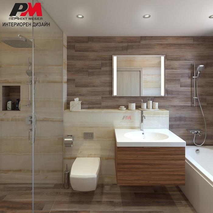 Луксозен интериорен дизайн на баня в гланц и дървесен фладер