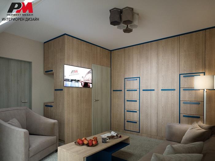 снимка на Модерен интериорен дизайн на помещение със скрито обзавеждане