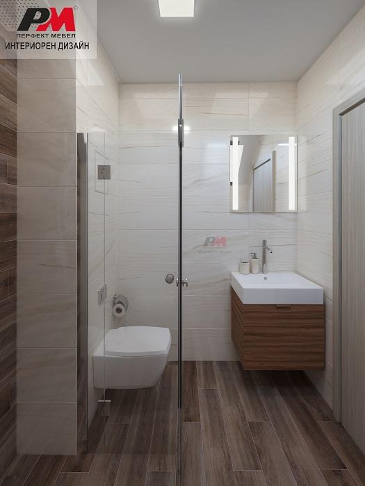 снимка на Модерна малка баня с прави форми на дизайна и