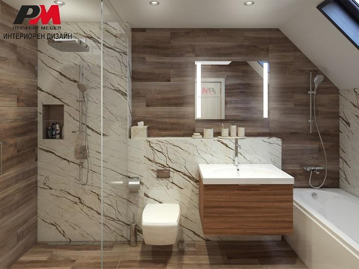 Стилна баня в модерен стил с топло излъчване