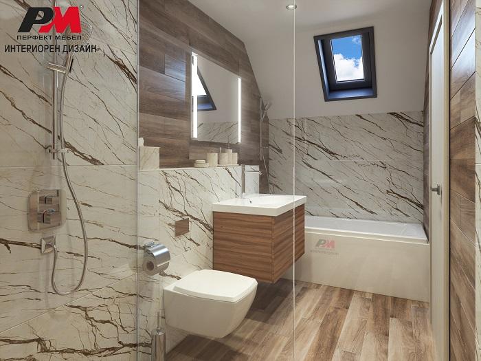 Елегантен интериорен дизайн на баня