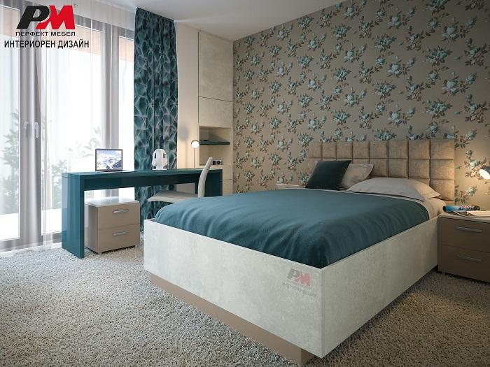 снимка на Изискна интериор на спалня с тюркоазна безкрайност