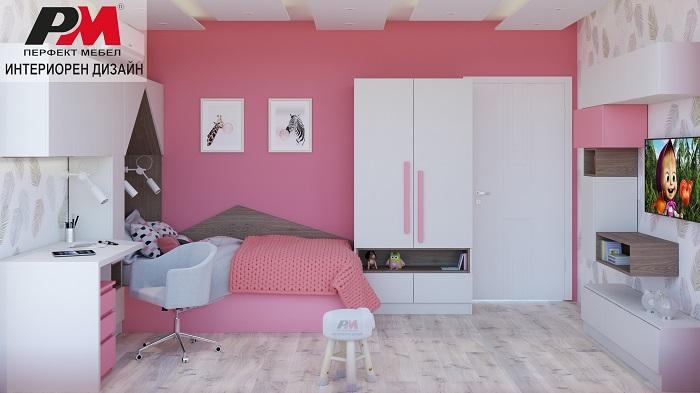 Нестандартен интериорен дизайн на детска стая в свежи тонове със сладък нежен привкус