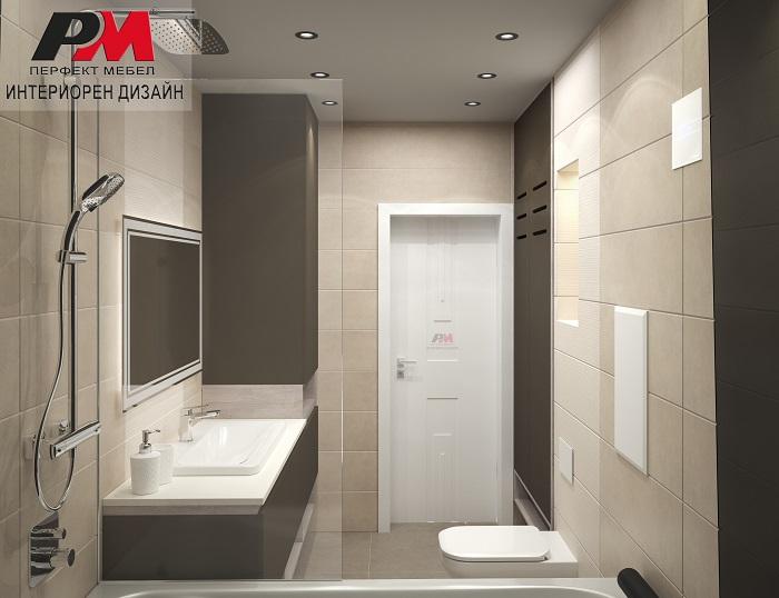 Съвремено интериорно решение на баня в стилни пастелни тонове