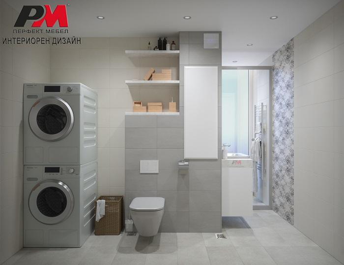 снимка на Стилна баня в меки пастелни тонове с елегантна линия