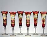 снимка на Кристални чаши червени със златна декорация