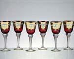 снимка на Кристални чаши със златна декорация за ракия