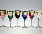 снимка на Комплект разноцветни кристални чаши     броя