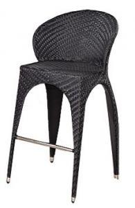 снимка на Бар стол от изкуствен ратан черен на склад